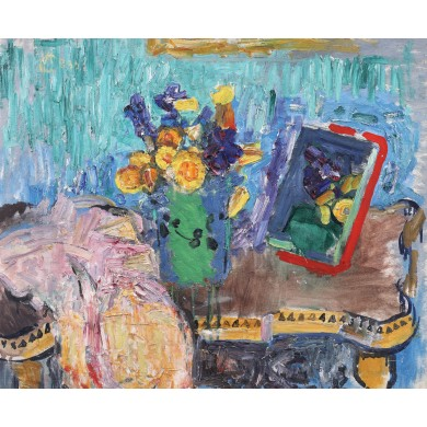 Still life with mirror and spring flowers