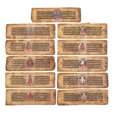 Culegere de sutre (rugăciuni budiste), parțial pictate cu zeități budiste (44 file, din care 11 pictate), Tibet, sec. XVI
