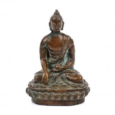 Statuetă din bronz, semnată, reprezentându-l pe Shakyamuni Buddha, probabil India, sec. XVII-XVIII