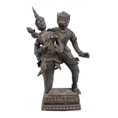 Statuetă din bronz, reprezentându-i pe Varuna, zeița bunăstării, şi Narasimha, reîncarnarea lui Vishnu, probabil Nepal, sec. XVIII