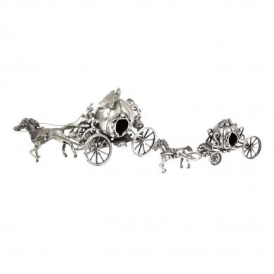 Pereche de calești miniaturale, din argint