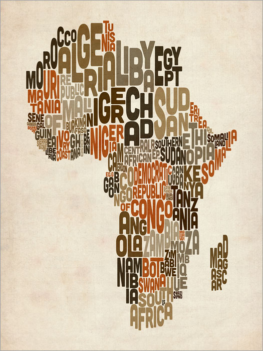 Typography text map of africa box canvas and poster print 106 ebay typography text map of africa box canvas and poster print 106 gumiabroncs Images