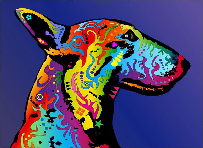 English Bull Terrier Box Canvas And Poster Print EBay - Bull terrier art