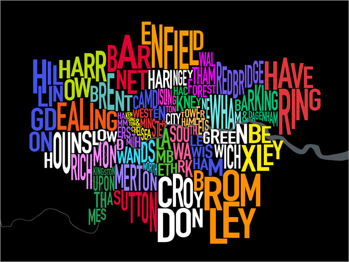 London Boroughs Typography Map canvas art print poster