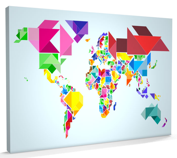 Map of the World Map Abstract Tangram CANVAS v204 eBay