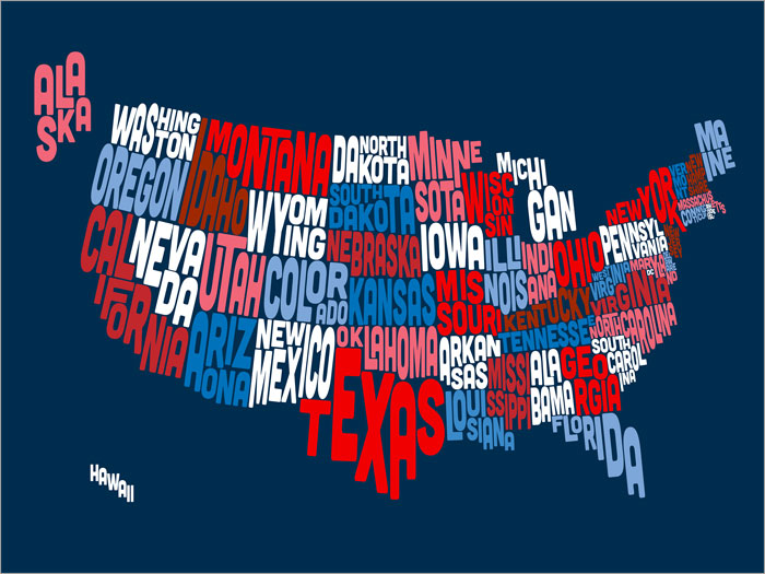 United states of america text map box canvas and poster print 207 united states of america text map box canvas gumiabroncs Gallery