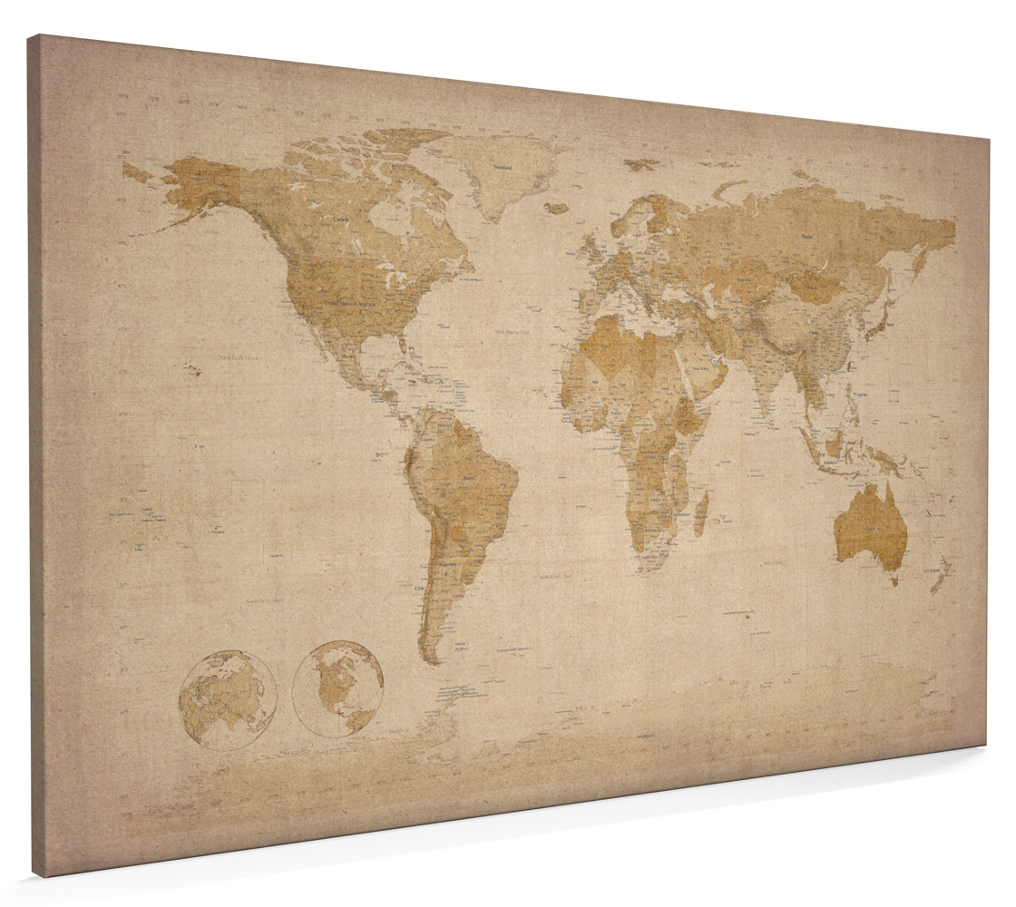 Details about World Map Antique Old Style Box Canvas and Poster Print (228)