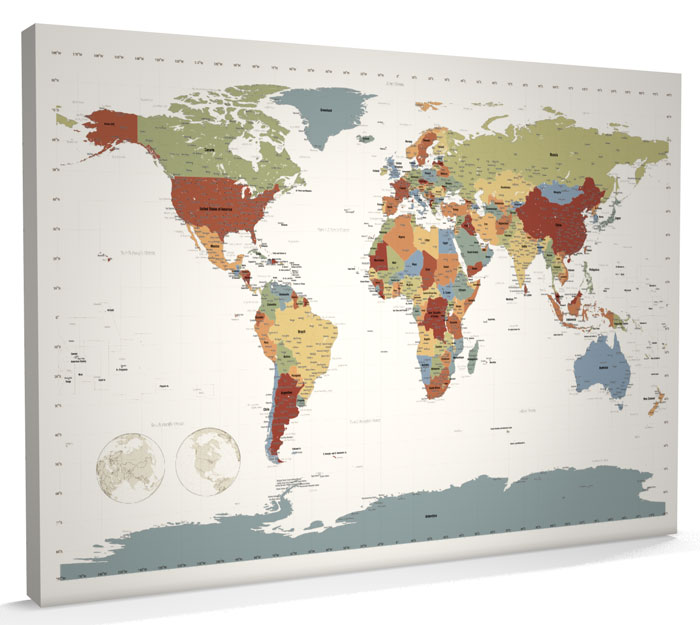 Map of the World Map CANVAS A1 34x22 inch Contemporary Colours m256 eBay