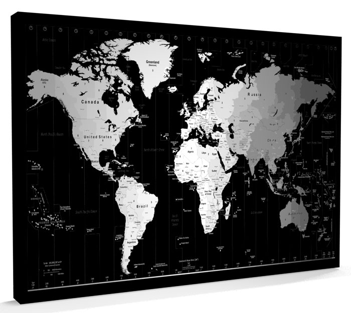 Time Zone Map Black And White: Time Zone Map Of The World Map CANVAS 34x22 Inch - M290