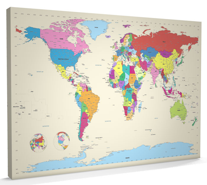 Map of the World Map CANVAS A1 22x34 inch m383 eBay