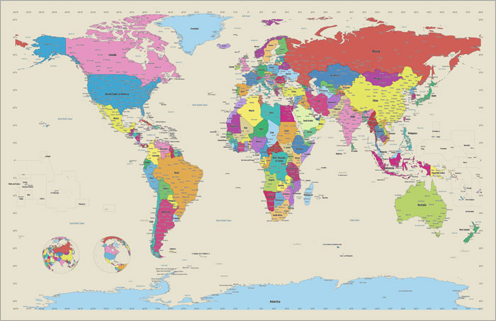 Map of the World canvas art print poster