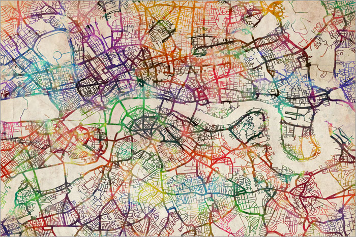 Watercolour Map Of London Box Canvas And Poster Print 419 Ebay: Map Of London Print At Infoasik.co