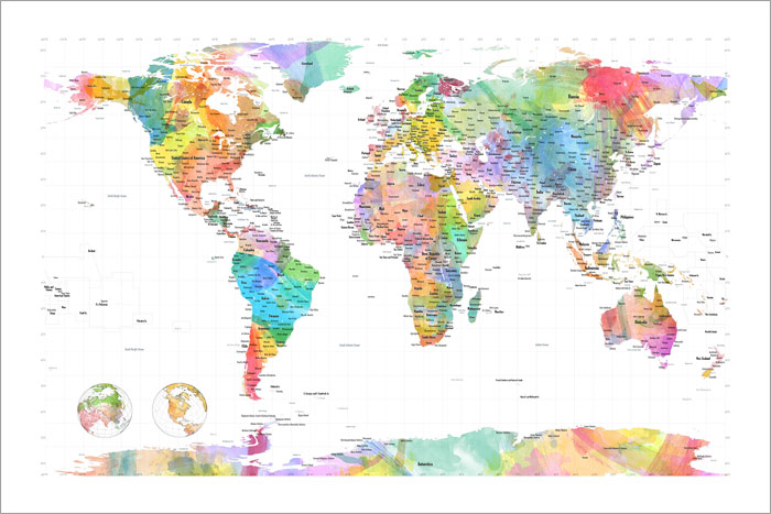 Details about Watercolor Political Map of the World Box Canvas and Poster  Print (472)