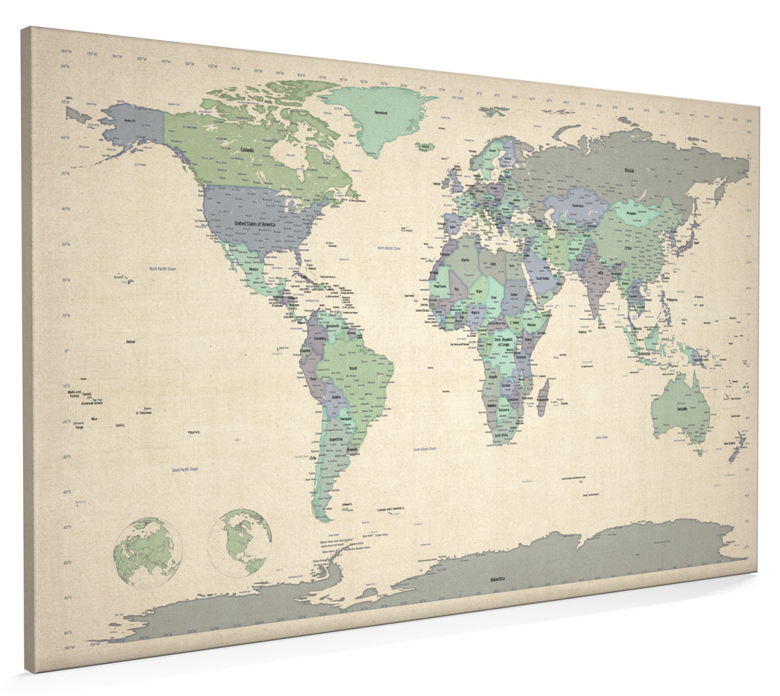 Map of the world box canvas and poster print 479 ebay image is loading map of the world box canvas and poster gumiabroncs Choice Image