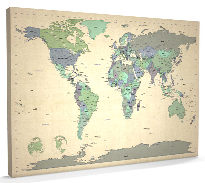 Map of the World Map CANVAS A1 34x22 inch m479 eBay