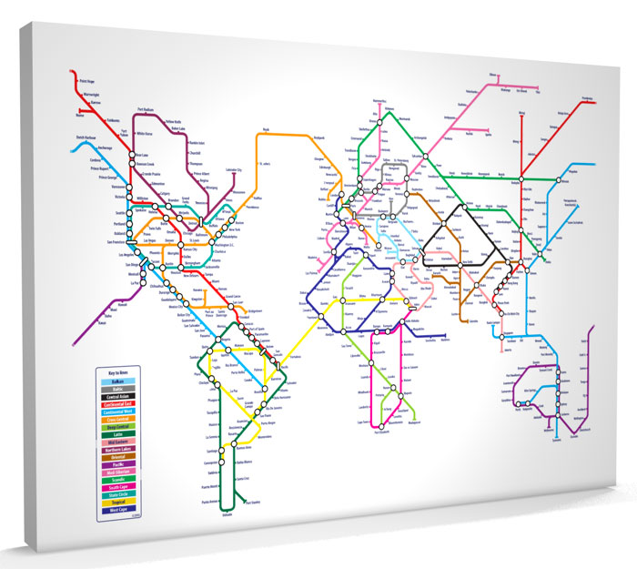 World Map Tube Metro Art Print CANVAS A3 to A1 v596 eBay