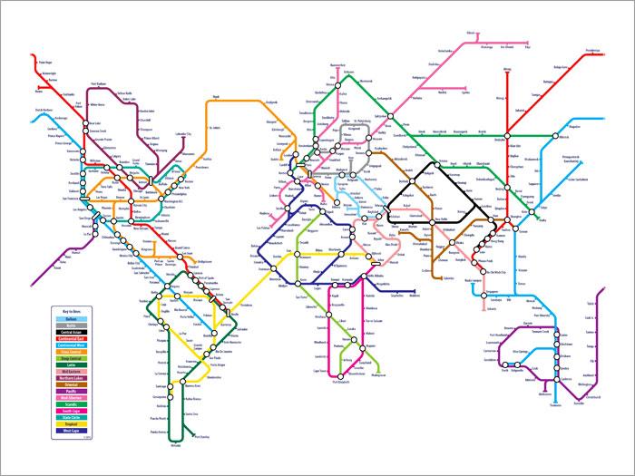 Map Artwork - World Metro Map Poster