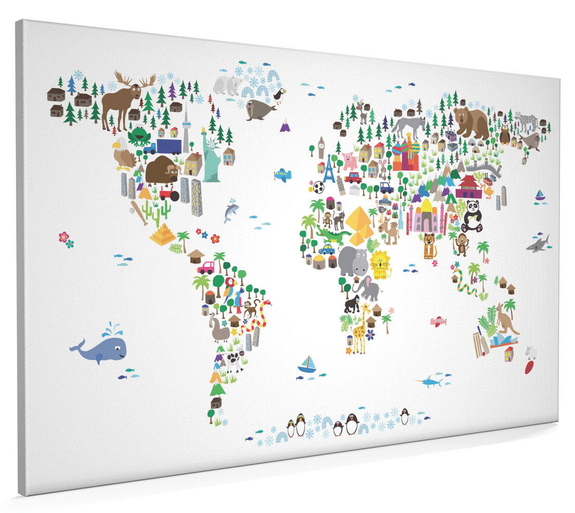 Colourful Children/'s Animal World Map  Canvas Wall Art Picture Print