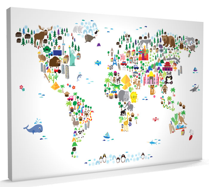 Map of the world kids canvas gumiabroncs Image collections