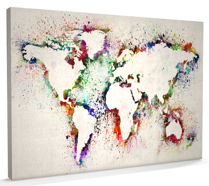 Map of the World Map Abstract Painting CANVAS Art A3 to A1 v778 eBay
