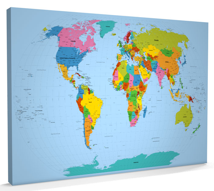 Map of the World Map CANVAS XXL 34x22 inch m816 eBay