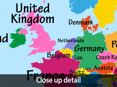 World map with big text for kids box canvas and poster print 901 description bright and colourful world map gumiabroncs Image collections
