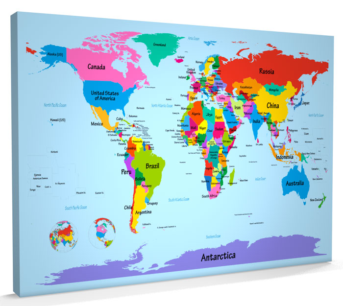 Map of the world large print map of the world large print world map with big text for kids canvas art print gumiabroncs Image collections