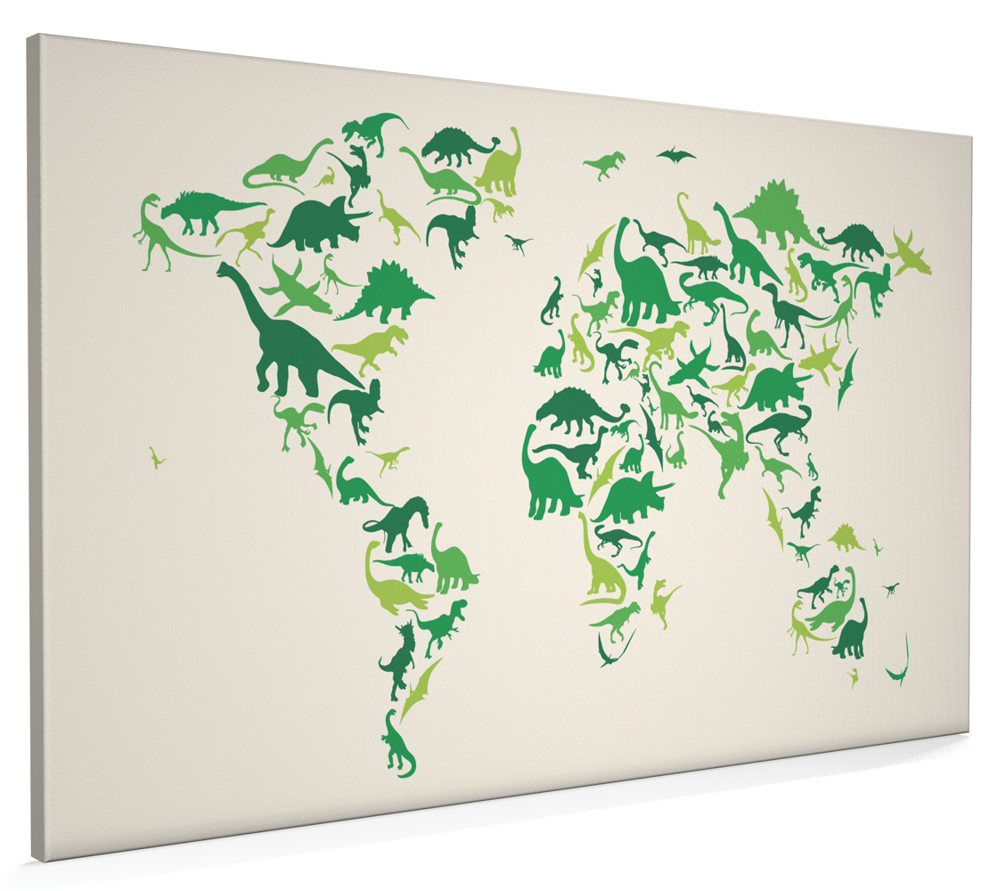 Dinosaur map of the world map box canvas and poster print 935 ebay dinosaur map of the world map box canvas and poster print 935 gumiabroncs Choice Image