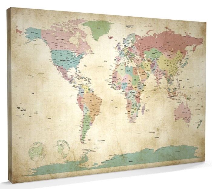 Watercolor world map 12x18 canvas print multiple color world map world modern day antique canvas wall map gumiabroncs Image collections