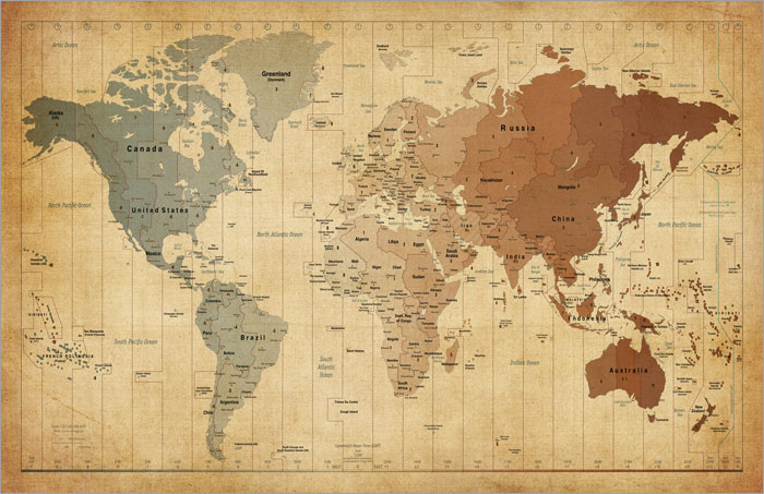 Laminated map of the world poster 36 x24 or a1 country map of the vintage world map black poster gumiabroncs Images