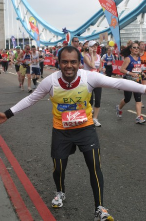 london marathon runner Baz Majevadia