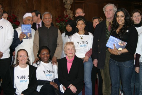 Professor Yunus in London with supporters