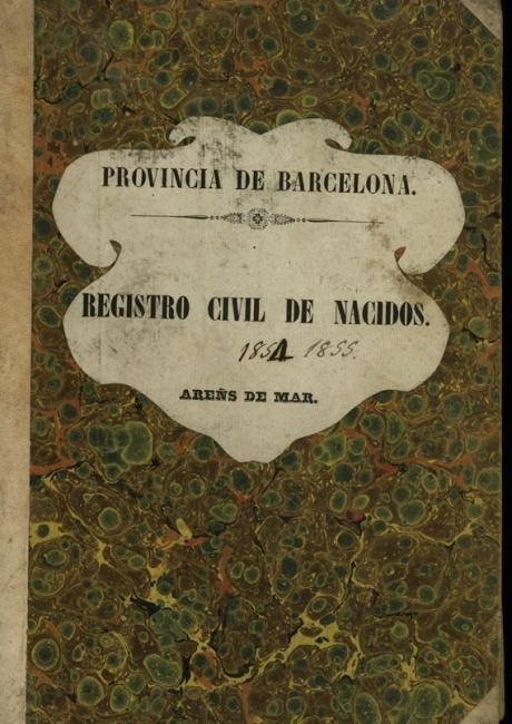 Registre civil de naixements de 1854 a 1855