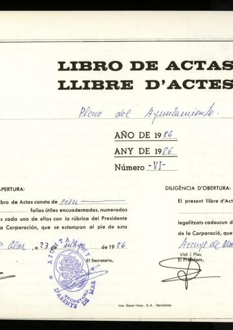 Acta de constitució de l'ajuntament d'Arenys de Mar de 1987