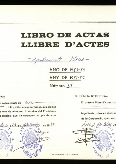 Acta de constitució de l'ajuntament d'Arenys de Mar de 1983