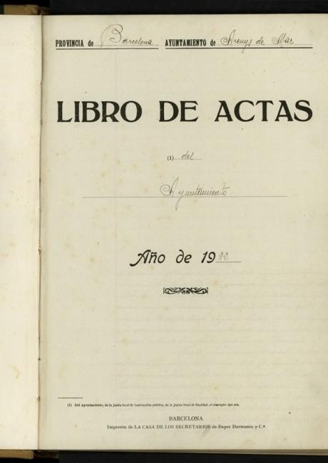 Llibre d'actes de 1931 a 1933