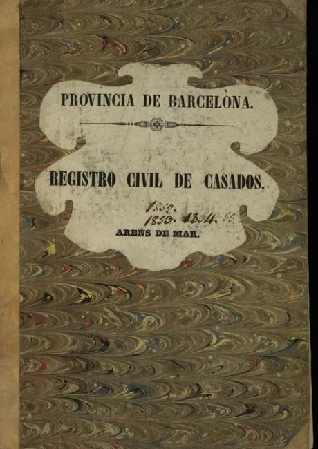 Registre civil de matrimonis de 1852 a 1855