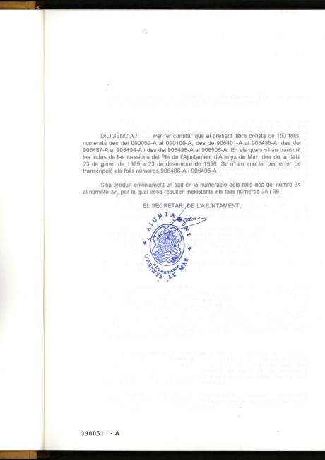 Acta de constitució de l'ajuntament d'Arenys de Mar de 1995