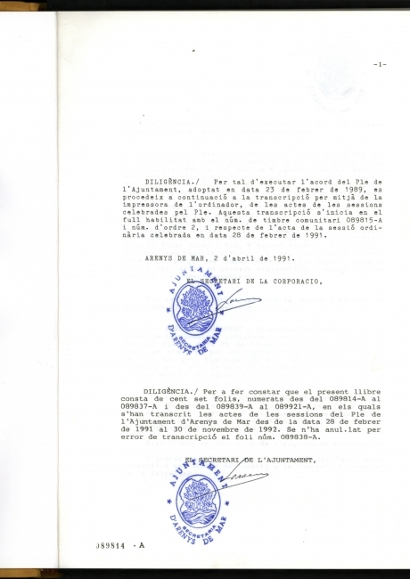 Acta de constitució de l'ajuntament d'Arenys de Mar de 1991
