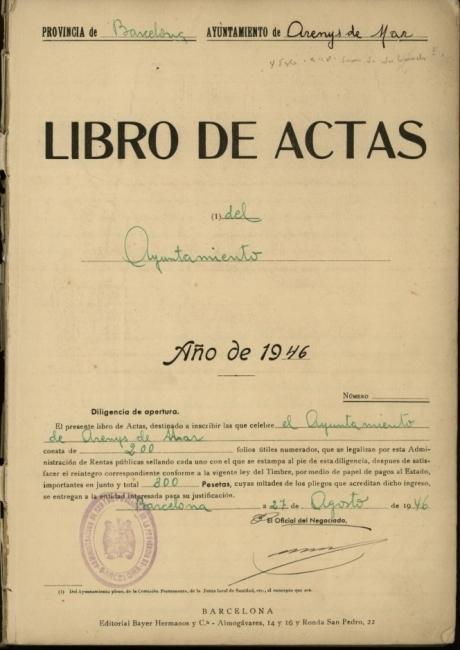 Llibre d'actes de 1946 a 1953