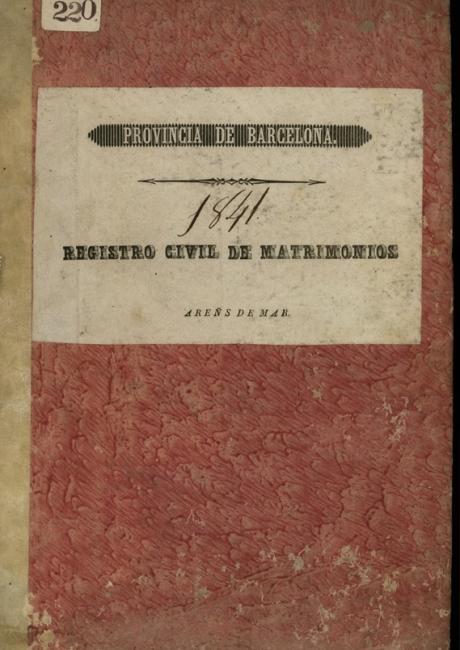 Registre civil de matrimonis de 1841 a 1843