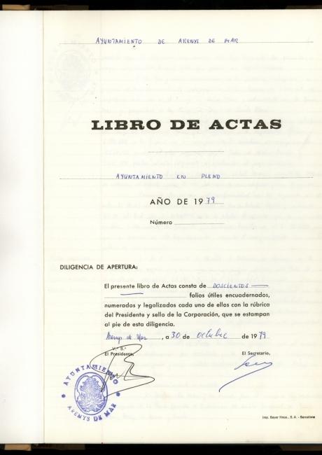 Acta de constitució de l'ajuntament d'Arenys de Mar de 1979