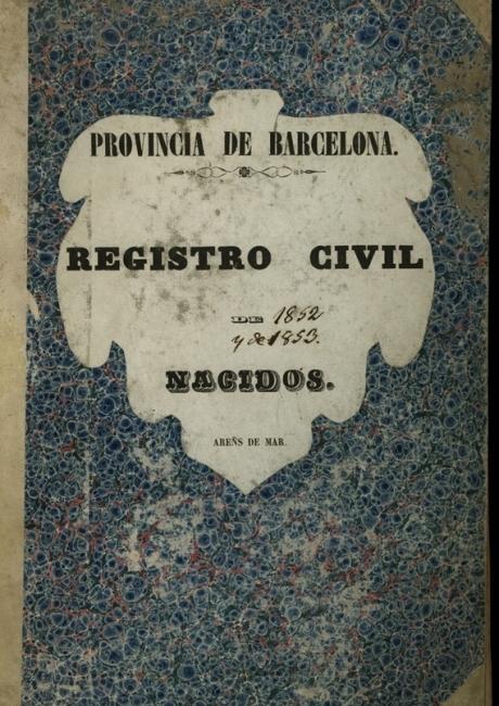 Registre civil de naixements de 1852 a 1854