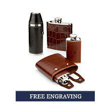 Leather Hip Flasks. Homeware & Gifts from Aspinal of London