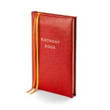 Birthday Book in Red Lizard. Birthday Book from Aspinal of London