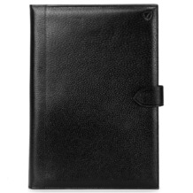 A4 Conference Portfolio in Black Jewel & Red Suede. Leather Portfolios & Padfolios from Aspinal of London