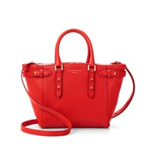 Mini Marylebone Tote in Berry Pebble. Handbags & Clutches from Aspinal of London