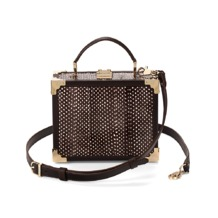 Mini Trunk Clutch in Pheasant Brown Snake. Evening & Clutches from Aspinal of London