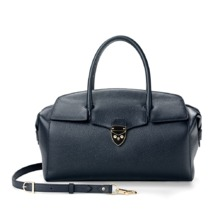 Berkeley Bag in Navy Pebble with Black Lining. Handbags & Clutches from Aspinal of London
