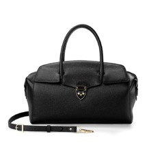 Berkeley Bag in Black Pebble & Smooth Black. Handbags & Clutches from Aspinal of London